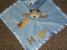"SECURITY BLANKET CARTERS PUP DOG RATTLE BROWN HEAD "" HUGS "" LOVEY BOY NWT NEW"