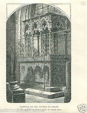 Tomb King Casimir III the Great Wawel Cathedral Poland GRAVURE OLD PRINT 1869