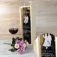 Personalised Wedding Wooden Wine Box with Clear Lid - Bride & Groom Silhoutte