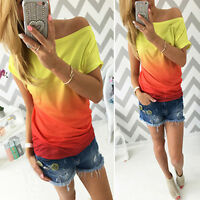 Womens Loose Casual Tops Short Sleeve T Shirt Ladies Ombre Tid-dye Beach Blouse