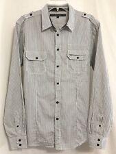 Sz L Large CJ BLACK Men's SLIM FIT Long Sleeve, Button Down, Black & White Shirt