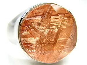 sz6.5 15MM ROSE GIBEON METEORITE STAR OF DAVID 925 STERLING SILVER RING