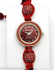 Señoras Rojo Cristal Diamante Bling & cordón del grano Pulsera Reloj De Colección Bijou