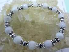 Bracelet PIERRE DE LUNE perles 8mm&ARGENT DU TIBET