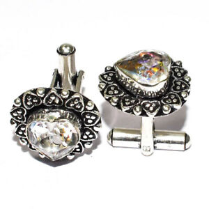 Faceted White Topaz 925 Sterling Silver Jewelry Cufflink