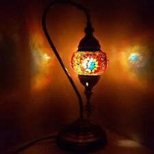 AUCTION - Turkish Moroccan Colorful Small Tiffany Glass Desk Lamp - UK SELLER