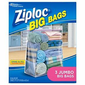 Ziploc Storage Bags Double Zipper Seal & Expandable Bottom Jumbo 3 Count Big Bag