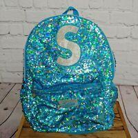 """Justice Girls Blue Sequin """"S"""" Full-Size Backpack 2-Zip Pockets Bottle Holder"""