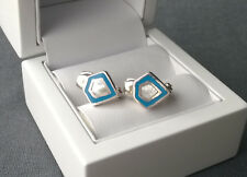 STERLING SILVER TURQUOISE & MOTHER OF PEARL HEAVY HUGGIE EARRINGS 925 SOLID