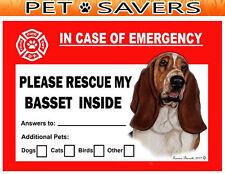 Basset Hound Dog Pet Savers Emergency Rescue Window Cling Sticker