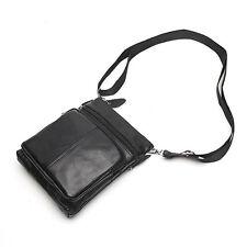 Genuine Leather Mens Small Crossbody Satchel Shoulder Bag Black Messenger Pocket