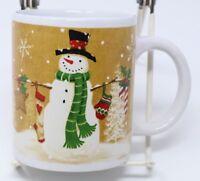 Let It Snow Snowman Coffee Mug White Winter Red Cardinal Christmas Tea Cup 10 Oz