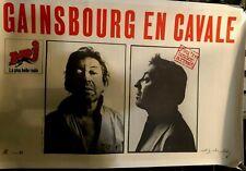 SERGE GAINSBOURG EN CAVALE affiche concert originale entoilée 1980