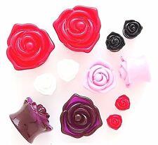 1 Pair 3D Shiny Acrylic Rose Shape Ear Plugs Gauges Double Flare Flower Saddle