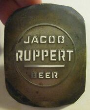 RUPPERT BEER ORIGINAL METAL PLATE USED TO MAKE BALL TAP KNOB INSERT NEW YORK NY