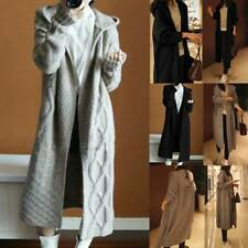 Women Knit Long Sleeve Hoodie Sweatshirt Jumper Jacket Coat Longline Cardigan