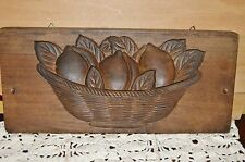 Antique JAPANESE MEIJI KASHIGATA Fruit Basket Hand Carved Rice Sweet Cake Mold
