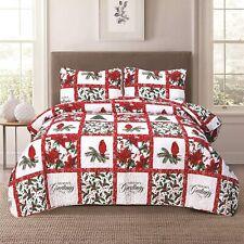 Holiday Patchwork Quilt Bedding Set Cardinal Poinsettia Holly Mistletoe
