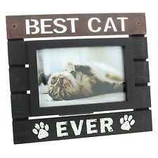 "New View Wooden Panel Photo Frame 6"" x 4"" Best Cat Ever NEW"