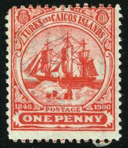 SG 102 TURKS & CAICOS ISLANDS 1900 - 1d RED - MOUNTED MINT