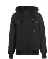 Fabric Quilted Hooded Black Jacket Mens Size UK XL *REF141