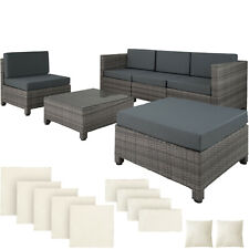 De Lujo Aluminio Mimbre Muebles de jardín sofá de ratán Conjunto de mesa gris al aire libre nuevo