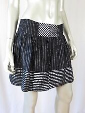 CANDIE'S Junior's L 98% Cotton 2 Layer Black & Shiny Silver Detail Belted Skirt
