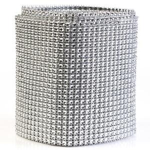 Diamond Silver Rhinestone Mesh Ribbon Wrap for Wedding Cake Party Supplies