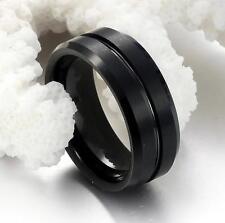 Men Matte Finish Black Tungsten Steel Ring Wedding Anniversary Band 8MM Size O-Y