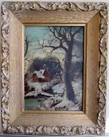 LISTED JULIUS KLEVER 1850-1924 RUSSIA WINTER LANDSCAPE OIL ON PANEL