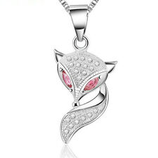 Women's 925 Sterling Silver Crystal Fox Pendant Necklace Chain Fashion Jewelry
