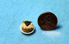 Dollhouse Miniature Cupcake / Crumb Danish with Grapes Iced on Top on Plate