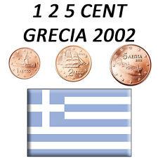 1 + 2 + 5 CENT 2002 GRECIA GRÈCE GREECE GRIECHENLAND FDC UNC DA ROTOLINI