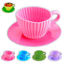 Silicone CUPCAKE Baking tin Mini Coffee mug MUFFIN Baking mould 4er SET 4farbig