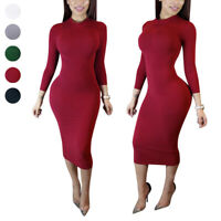 Women Turtle Neck Dress Casual Elastic Long Sleeve Bodycon Party Midi Dress