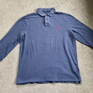 Ralph Lauren Long Sleeve Polo Shirt Navy Blue Mens XL