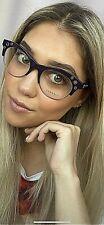 New Versace Mod. 3232185 Eggplant 52mm Cats Eye Women's Eyeglasses Italy