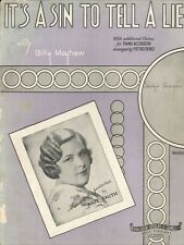 It's A Sin To Tell A Lie Sheet Music Voice 1936 Kate Smith Mayhew Accordion