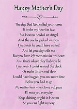 Happy Mothers Day Memorial Graveside Poem Card & Free Ground Stake F116