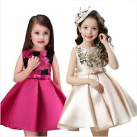 New Birthday Girls Dress Wedding Princess Flowergirl Party Kids Clothes UK 2-8Y