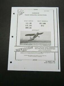 1945-49 AAF Stinson L-5 B/C/E/G USN OY-1 OY-2 Aircraft Flight Operating Manual