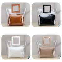Transparent Jelly Women Leather Clear Clutch Bag Lady Casual Tote Handbag 2PCS