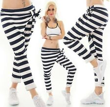 Italy Leisure Trousers Wrap Look Bix Jogging Trousers Baggy Striped 36-38