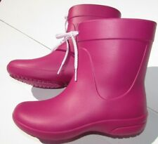 Crocs Rain Boots size 4.5, 5 pink red white  shoes short SPRING New