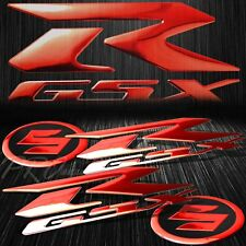 "6.25"" ABS 3D GSXR Logo Emblem+2""Suzuki Fairing/Fender Badge Sticker Chromed Red"