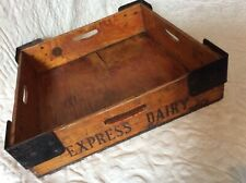 More details for vintage express dairy wooden box raised metal corners for stacking (cream jars?)