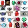 Women Colorful Sapphire Gemstone Rhinestone Rhinestone Ring Wedding Jewelry Gift