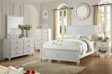 Modern Bedroom 4pc set Cal King Bed Dresser Mirror Nightstand White Furniture