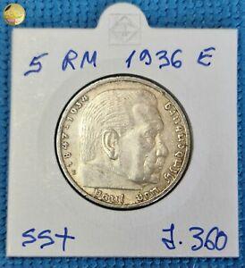 Germany Third Reich 5 Reichsmark 1936 E HINDENBURG  Silver Coin J.360