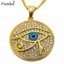Mens Egyptian Eye of Horus Pyramid Gold Diamond Pharaoh Necklace Pendant Hip Hop
